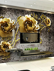 JAMMORY 3D Wallpaper For Home Contemporary Wall Covering Canvas Material Golden PeonyXL XXL XXXL