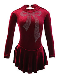 Figure Skating Dress Women's Girls' Ice Skating Dress Velvet Rhinestone Performance Practise Skating Wear Handmade Bowknot Long Sleeves