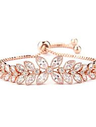 Women's Chain Bracelet Fashion Rose Gold Zircon Cubic Zirconia Flower Jewelry For Daily