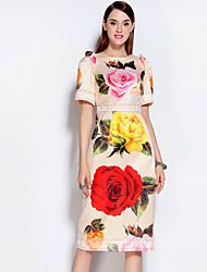 Gaine Robe Femme Décontracté / Quotidien Vintage,Fleur Col Arrondi Midi Manches Courtes Beige Coton / Polyester Automne Taille NormaleNon