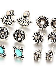 6 PCS/Set Fashion 2017 Natural Stone Crystal Stud Earrings Charming Retro Silver Color Earring Fashion Women Wedding Jewelry