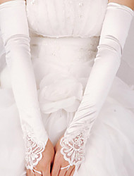 Elastic Satin Elbow Length Glove Bridal Gloves With Pearls Sequins
