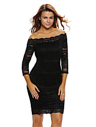 cheap -Women's Club Sexy Bodycon Dress,Solid Boat Neck Knee-length Polyester Spandex Fall High Rise Micro-elastic Thin