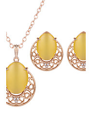 Jewelry 1 Pair of Earrings Necklaces Wedding Party Alloy Gem 1set Women Wine Yellow Green Wedding Gifts