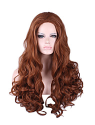 cheap -Brown Body Wave Volume Capless Synthetic Wig Heat Resistant Middle Parting Long Length Hit Hot Sale High Quality Party Daily Wig