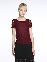cheap -Women's Solid Pink / Red / White / Black Blouse,Round Neck Short Sleeve