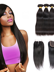 cheap -3 Bundles with Closure Brazilian Hair Silky Straight Virgin Human Hair Natural Color Hair Weaves / Hair Weft with Closure 8-28 inch Human Hair Weaves 4x4 Closure 7a / Shedding Free / Tangle Free
