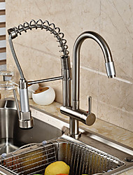 Contemporary Pull-out/­Pull-down Vessel Widespread Pullout Spray Rotatable Ceramic Valve Single Handle One Hole Nickel Brushed , Kitchen