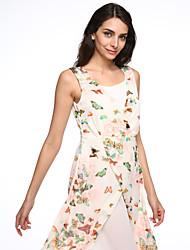 Women's Casual/Print Inelastic Sleeveless Maxi Dress (Chiffon)