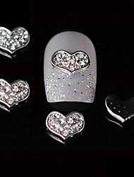 10pcs 3d conception strass coeur en alliage d'ongles vernis bricolage décoration d'art