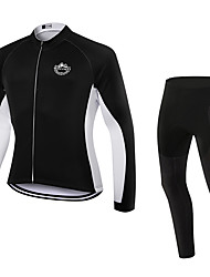 cheap -WOLFKEI Long Sleeves Cycling Jersey with Tights - White Bike Clothing Suits, 3D Pad, Thermal / Warm, Quick Dry, Breathable, Sweat-wicking