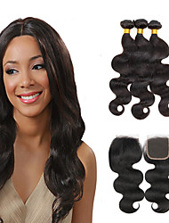 cheap -3 Bundles with Closure Brazilian Hair Body Wave Virgin Human Hair Natural Color Hair Weaves / Hair Bulk / Hair Weft with Closure 8-28 inch Human Hair Weaves 4x4 Closure 7a / Shedding Free / Tangle