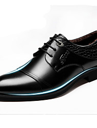 cheap -Men's Shoes Cowhide Spring Summer Fall Winter Comfort Novelty Oxfords Lace-up For Wedding Party & Evening Black Dark Brown