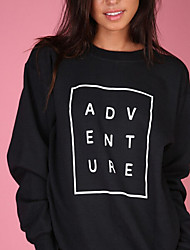 Women's Plus Size Casual/Daily Active Sweatshirt Letter Round Neck Micro-elastic Cotton / Acrylic Long Sleeve Fall / Winter