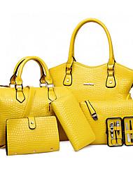 Women Bags All Seasons PU Bag Set Flower(s) Zipper for Formal Office & Career White Black Red Yellow Fuchsia
