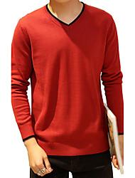 preiswerte -Herren Standard Pullover-Ausgehen Lässig/Alltäglich Übergröße Einfach Niedlich Street Schick Solide Blau Rot Schwarz Grau Gelb