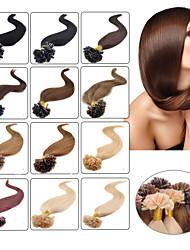 baratos -Febay Queratina / Ponta U Extensões de cabelo humano Liso Cabelo Humano Cabelo Brasileiro Loiro Morango Ruivo Escuro Marrom Médio