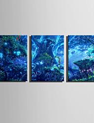 E-HOME® Stretched LED Canvas Print Art Magical Forest LED Flashing Optical Fiber Print Set of 3