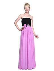 Sheath / Column Strapless Floor Length Chiffon Bridesmaid Dress with Beading Draping Flower(s) Sash / Ribbon by LAN TING BRIDE®