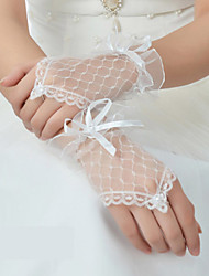 Net Wrist Length Glove Bridal Gloves