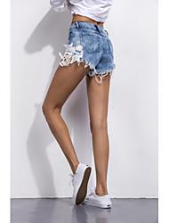 Amazon Ebay AliExpress explosion models sexy lace stitching European and American style sexy denim shorts shorts