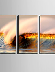 cheap -E-HOME Stretched Canvas Art Golden Waves Decoration Painting Set Of 3