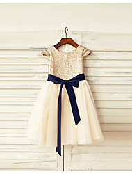 A-Line Knee Length Flower Girl Dress - Tulle Sequined Short Sleeves Scoop Neck with Bow(s) Sash / Ribbon Sequins by LAN TING BRIDE®