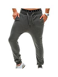 economico -Per uomo A vita medio-alta Attivo Media elasticità Largo Attivo Chino Pantaloni della tuta Pantaloni,Tinta unita Cotone Per tutte le