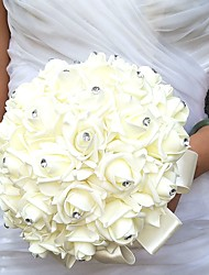 cheap -Wedding Flowers Round Roses Bouquets Wedding Party/ Evening Satin Foam Rhinestone