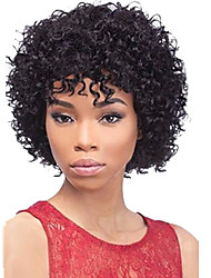 cheap -Human Hair Wig Afro / Deep Wave With Bangs 130% Density Natural Hairline / African American Wig / 100% Hand Tied Women's Short / Medium Length Human Hair Capless Wigs