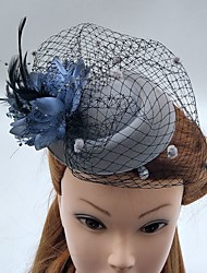 Недорогие -тюль перо чистые факсимиляторы шляпы birdcage вуали головной убор элегантный стиль