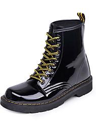 Feminino Sapatos Flocagem Courino Outono Inverno Coturnos Botas Rasteiro Ponta Redonda Botas Curtas / Ankle Combinação Para Casual Preto