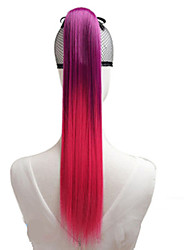 Women Synthetic Wig Capless Straight Red Blue Blushing Pink With Ponytail Costume Wigs