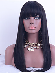 cheap -130% Density Brazilian Virgin Hair Lace Front Wig Straight Hair With Bang Unprocessed Human Virgin Hair Lace Wig With Natural Black Color