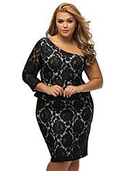 Women's Off The Shoulder|Lace Black Lace Illusion Curvaceous One Shoulder Peplum Dress