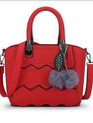 Women Bags All Seasons Cowhide Tote for Casual Office & Career Black Gray Red Dark Pink