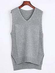 Недорогие -Женский На каждый день Простое Обычный Пуловер Однотонный,Розовый Черный Серый V-образный вырез Без рукавов Кроличий мех Лето Средняя