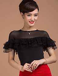 cheap -Ballroom Dance Tops Women's Training Viscose Splicing Short Sleeve Natural Top