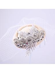 Women's Lace Rhinestone Net Headpiece-Wedding Special Occasion Outdoor Fascinators 1 Piece