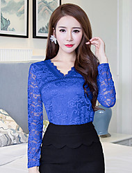 Sign 2016 autumn new lace blouse women's fashion lace long-sleeved shirt large size shirt Slim