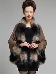 Damen Standard Mantel / Capes Solide Blau Rosa Rot Schwarz Gekerbtes Revers Ärmellos Wolle Kunst-Pelz Andere Winter Mittel Mikro-elastisch