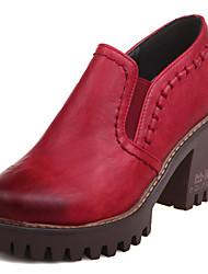 preiswerte -Damen Schuhe Kunstleder Frühling Sommer Gladiator Komfort High Heels Blockabsatz Plattform Block Ferse Runde Zehe Elastisch Geflochtene