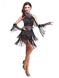 Shall We Latin Dance Outfits Women's Performance Spandex Tassel(s) Sleeveless High Dress Shorts