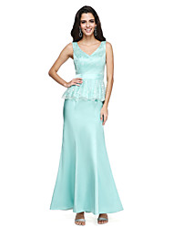 cheap -Mermaid / Trumpet V-neck Ankle Length Lace Charmeuse Bridesmaid Dress with Sash / Ribbon by LAN TING BRIDE®
