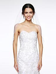 voiles de coude de voile de mariage à un niveau avec des accessoires de mariage nets de perle