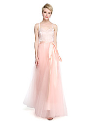 A-Line Spaghetti Straps Floor Length Tulle Stretch Satin Bridesmaid Dress with Beading Bow(s)