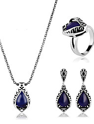 cheap -Women's Jewelry Set Synthetic Sapphire Classic European Party Daily Casual Synthetic Gemstones Alloy Rings 1 Necklace 1 Pair of Earrings