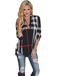 cheap -Women's Daily Casual Spring Fall T-shirt,Geometric V Neck Long Sleeves Cotton Medium