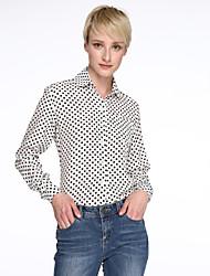 Damen Punkt Einfach Lässig/Alltäglich Hemd,Hemdkragen Frühling / Sommer / Herbst Langarm Weiß / Schwarz Dünn