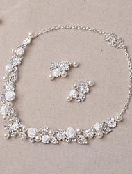 Недорогие -Бижутерия Ожерелья Серьги Свадьба Для вечеринок 1 комплект Женский Серебряный Свадебные подарки